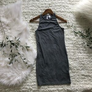 H&M Heather Gray Bodycon High-neck Racerback Dress
